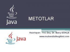 METOTLAR Hazrlayan Yrd Do Dr Bar GKE www
