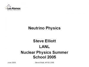 Neutrino Physics Steve Elliott LANL Nuclear Physics Summer