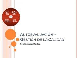 AUTOEVALUACIN Y GESTIN DE LA CALIDAD Ciro Espinoza