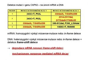 Detekce mutac v genu CAPN 3 na rovni