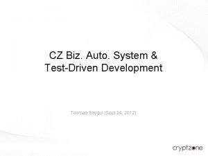 CZ Biz Auto System TestDriven Development Teoman Soygul