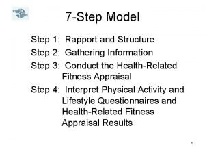 7 Step Model Step 1 Rapport and Structure