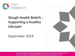 Slough Health Beliefs Supporting a Healthy Lifestyle September