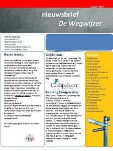 Januari 2019 nieuwsbrief De Wegwijzer CBS De Wegwijzer