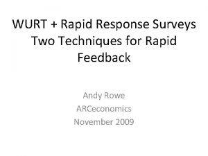WURT Rapid Response Surveys Two Techniques for Rapid