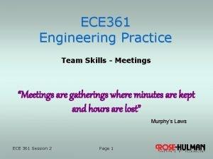 ECE 361 Engineering Practice Team Skills Meetings Meetings