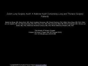 Dutch Lung Surgery Audit A National Audit Comprising