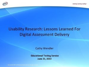 Usability Research Lessons Learned For Digital Assessment Delivery