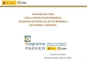 PROGRAMA DE AYUDAS PARA LA REHABILITACIN ENERGTICA DE