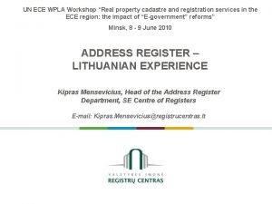 UN ECE WPLA Workshop Real property cadastre and