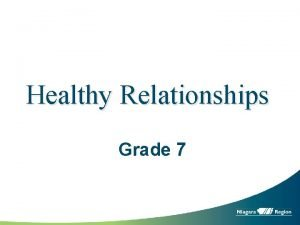 Healthy Relationships Grade 7 Relationships You can have