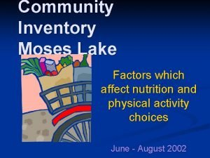 Community Inventory Moses Lake Factors which affect nutrition