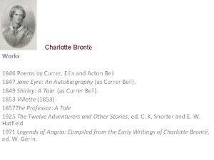 Charlotte Bront Works 1846 Poems by Currer Ellis
