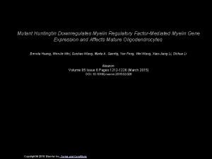Mutant Huntingtin Downregulates Myelin Regulatory FactorMediated Myelin Gene