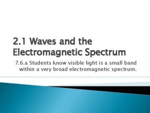 2 1 Waves and the Electromagnetic Spectrum 7