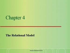Chapter 4 The Relational Model Pearson Education 2014