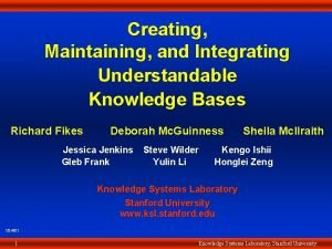 Creating Creating Maintaining Maintaining and Integrating Understandable Knowledge