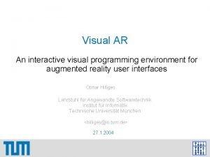 Visual AR An interactive visual programming environment for