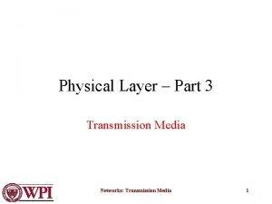Physical Layer Part 3 Transmission Media Networks Transmission