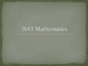 ISAT Mathematics 2011 Mathematics ISAT All states must