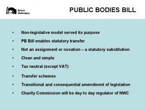PUBLIC BODIES BILL Nonlegislative model served its purpose