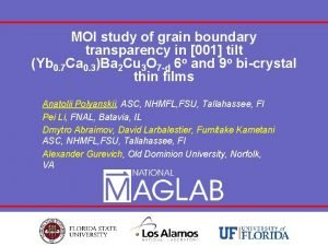MOI study of grain boundary transparency in 001