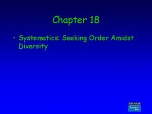 Chapter 18 Systematics Seeking Order Amidst Diversity Copyright