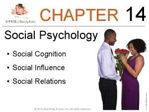 CHAPTER Social Psychology Social Cognition Social Influence Social