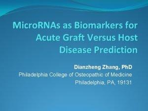 Micro RNAs as Biomarkers for Acute Graft Versus