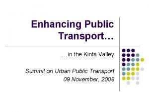 Enhancing Public Transport in the Kinta Valley Summit