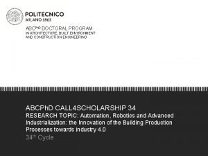 ABCPh D DOCTORAL PROGRAM IN ARCHITECTURE BUILT ENVIRONMENT