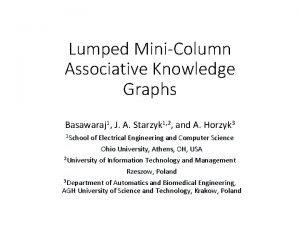Lumped MiniColumn Associative Knowledge Graphs Basawaraj 1 J