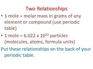 Two Relationships 1 mole molar mass in grams