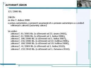 AUTORSK ZKON 1212000 Sb ZKON ze dne 7