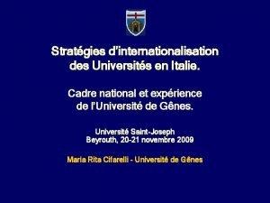 Stratgies dinternationalisation des Universits en Italie Cadre national
