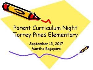 Parent Curriculum Night Torrey Pines Elementary September 13