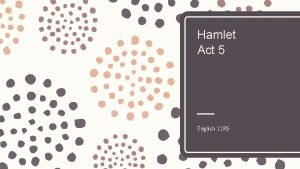 Hamlet Act 5 English 11 RS Film Act