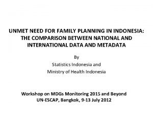 UNMET NEED FOR FAMILY PLANNING IN INDONESIA THE
