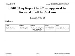 March 2018 doc IEEE 802 11 171045 r