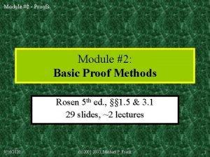 Module 2 Proofs Module 2 Basic Proof Methods