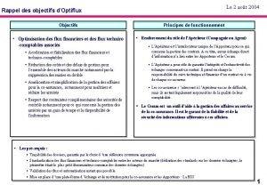 Le 2 aot 2004 Rappel des objectifs dOptiflux