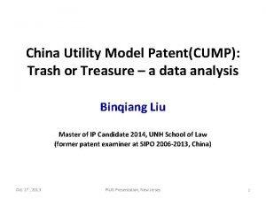 China Utility Model PatentCUMP Trash or Treasure a