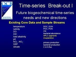 Timeseries Breakout I Future biogeochemical timeseries needs and