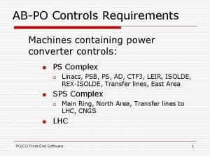 ABPO Controls Requirements Machines containing power converter controls
