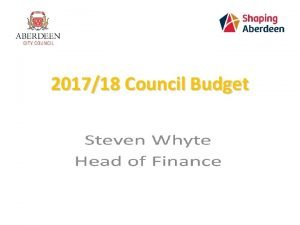 201718 Council Budget 201718 Settlement The funding package