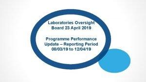 Laboratories Oversight Board 23 April 2019 Programme Performance