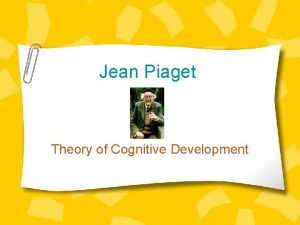 Jean Piaget Theory of Cognitive Development The ManA