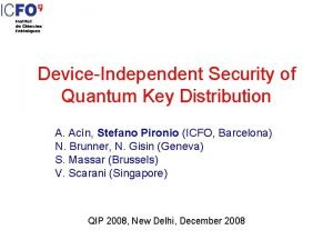 DeviceIndependent Security of Quantum Key Distribution A Acn