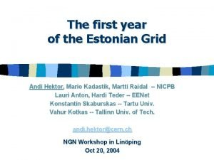 The first year of the Estonian Grid Andi