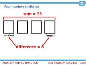 Four numbers challenge sum 23 smallest largest difference